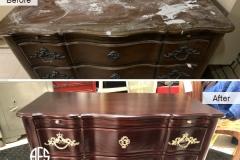 Dresser-credenza-antique-damaged-furniture-top-finish-refinishing-restoring-hadware-change-enhance-distress-gold-handles-new-shop