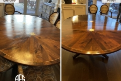 mid-century-contemporary-furniture-dining-walnut-oak-tables-scratched-top-refinishing-ethan-allen-mahogany-lacquer